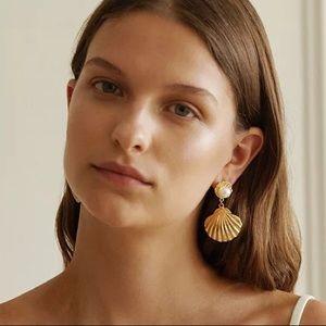 Jewelry - Gold Shell Pearl Drop Beach Earrings